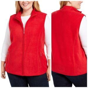 1X 3X Warm Red Fleece Zip Up Vest Plus Size